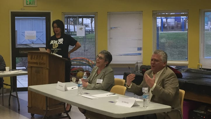 From left, Heather Maddox moderates a discussion between Sherry Shipley and Joe Mackey on March 23, 2017 in Lafayette. The Tippecanoe County Democratic Party is looking for a candidate to run against U.S. Rep. Todd Rokita in 2018. Discussions like these are intended to help determine a candidate by consensus ahead of the official primary.