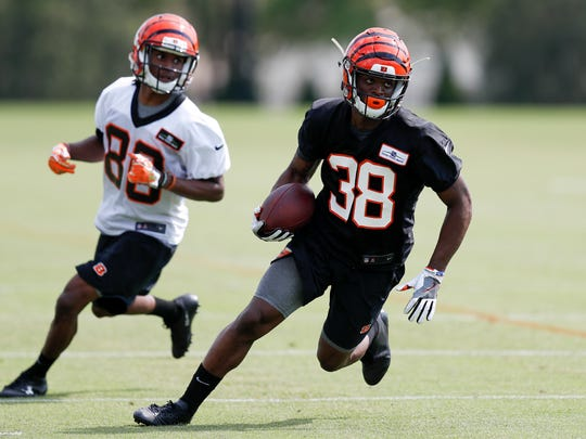 Cincinnati Bengals cornerback Darius Phillips (38) participates in the NFL football team's rookie minicamp, Friday, May 11, 2018, in Cincinnati.