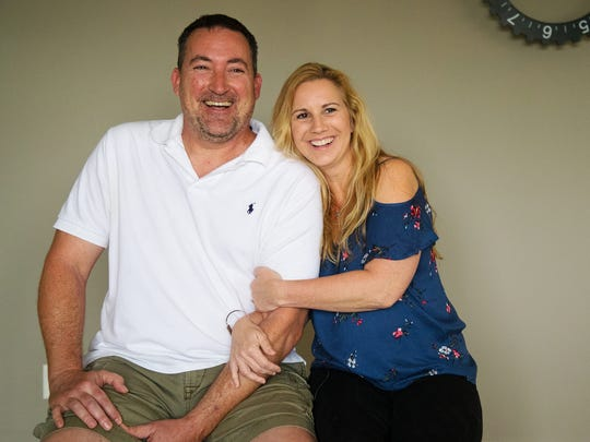"""""""He still gives me goosebumps and butterflies,"""" says Caryn Clark of her fiance Poche FlYnn. Their relationship began with a Facebook message and in time became much more. They are marrying in October."""