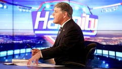 """Sean Hannity on the set of Fox News Channel's """"Hannity"""""""