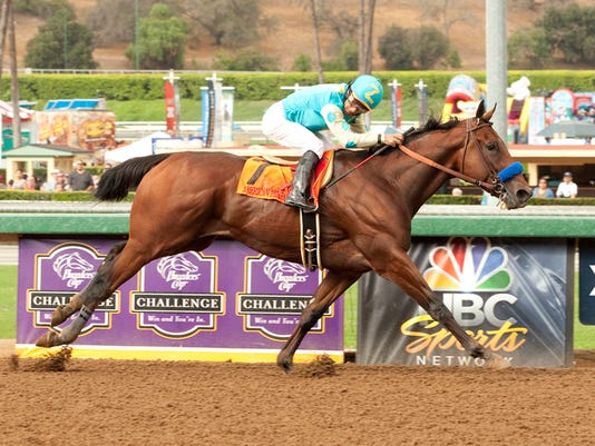 derby2015american pharoah frontrunner side view at wire.jpg