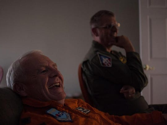 Retired U-2 pilots Gary Hawes, left, and Glenn Whicker watch film recorded by Hawes while he was in the Air Force at his St. George home on Wednesday, April 23, 2014.