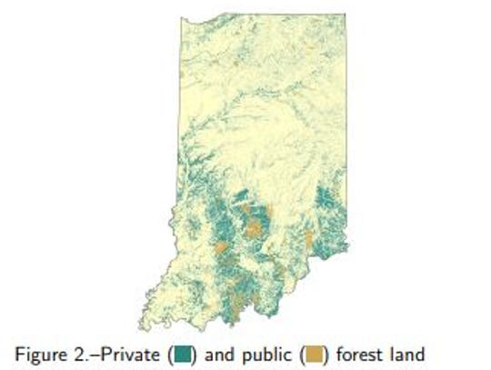 In Indiana, the majority of forest land -- at nearly