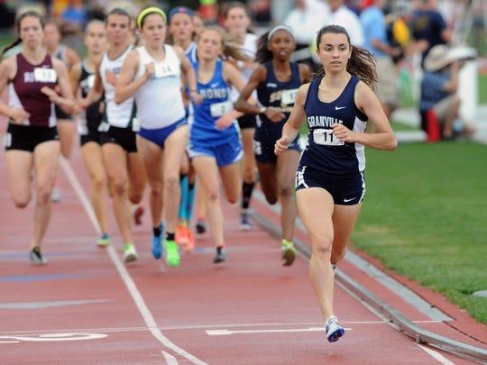 Granville's Micaela DeGenero runs the 1,600 meter run during the Division I state final Saturday at Jesse Owens Memorial Stadium in Columbus.