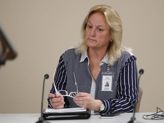 Scottsdale schools Superintendent Denise Birdwell listens during a school board meeting Jan. 30, 2018.