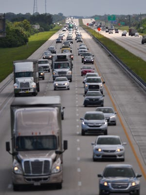 Northbound Interstate 95 traffic was heavy Thursday afternoon near Viera Boulevard, as Hurricane Irma slowly approached Florida.