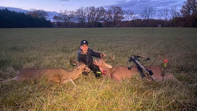 Brooks Poupard, 6, harvested his first (doe) and his second deer (9 point buck) moments apart with his crossbow.