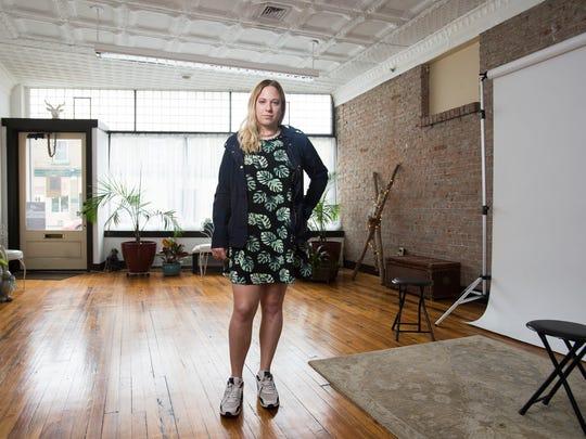 Katie Kanazawich, 23, inside her photography studio Habitat Studio on Clinton Street in Binghamton. Habitat Studio is one of the local businesses participating in Second Saturday.