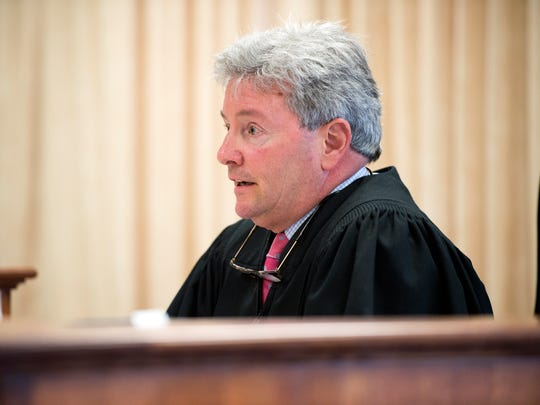 Judge William C. Pelella speaks during court proceedings Monday in the case of former Broome County Executive Debbie Preston, who pleaded guilty to one misdemeanor count of official misconduct.