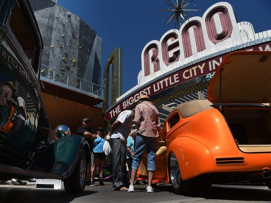 Cars and people are seen in downtown Reno during Hot August Nights on Aug. 6, 2016.