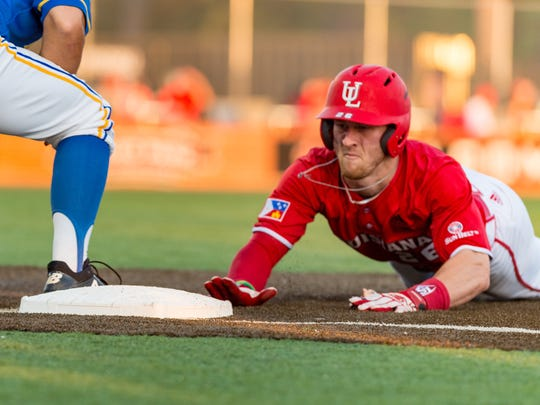 UL's Daniel Lahare dives back last season to first base, which is where he'll probably play the most this season.