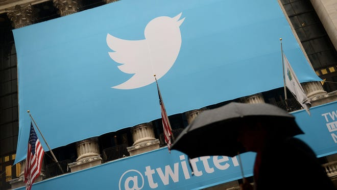 This 2013 file photo shows the logo of Twitter on the front of the New York Stock Exchange (NYSE) in New York.