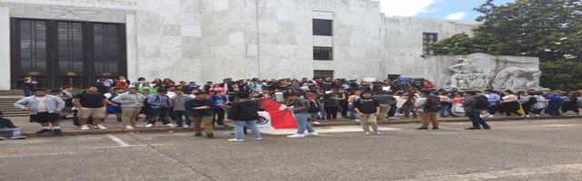 Salem teens hold anti-Trump march downtown
