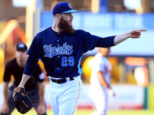 Hooks' Dallas Keuchel looks for the call against Frisco on Monday, July, 17, 2017, at Whataburger Field in Corpus Christi. Houston Astros Dallas Keuchel will start rehabilitation with the Hooks.