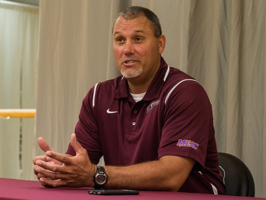 UMES baseball coach Brian Hollamon speaks to the media during a press conference at the Hytche Athletic Center on Wednesday, Aug. 23, 2017.