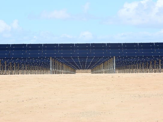 The 150-megawatt Tenaska Imperial Solar Energy Center West just outside El Centro, near the Mexican border. Electricity from this solar project is sold to San Diego Gas & Electric.