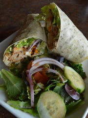 The crazy chipotle wrap has chipotle chicken, red pepper,
