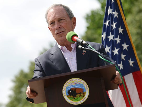 Michael Bloomberg speaks at the reopening ceremony