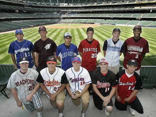 Milwaukee Lutheran's Adam Walker (back row, far right) and West Bend West's Paul Hoenecke (back row, second from right) were both drafted in 2012.