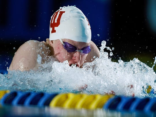 Lilly King swims during a preliminary heat of the women's 50m breaststroke during the 2016 Arena Pro Swim Series on May 15, 2016 in Charlotte, N.C.