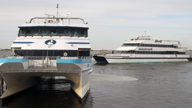 The Seastreak Ferry, arrives at the Conners Highlands terminal in Highlands from New York City.