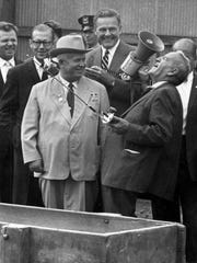 "Garst and others within hearing laughed heartily when Khrushchev told his host that ""even the horse over there wants to see a Communist."" This was one of many moments of jovial good humor during Wednesday's farm tour."