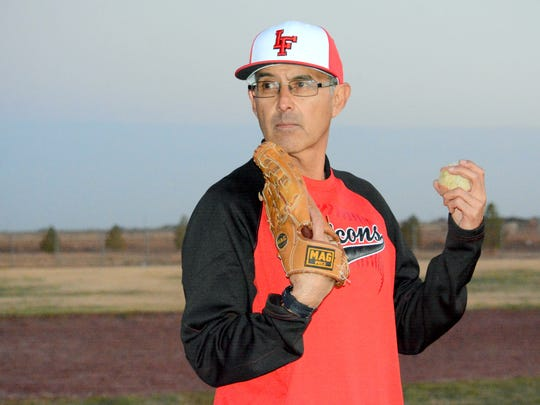 A former pitcher for the Carlsbad Cavemen, Loving baseball coach Alfredo Chacon stresses strong mechanics in all three phases of the game. The 2017 season will be Chacon's final season with the Falcons.