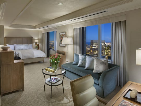 A deluxe King room at the new Loews Regency San Francisco.