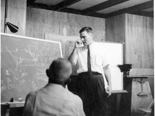 Bradford Smith in a classroom at NMSU in 1964.