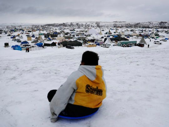 In this Tuesday, Nov. 29, 2016 photo, the Oceti Sakowin