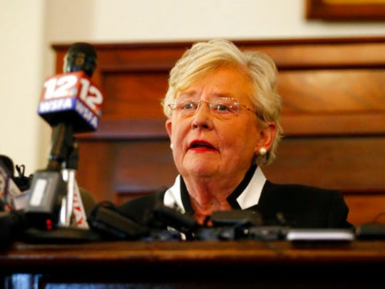 Kay Ivey speaks after taking the oath of office of Governor of Alabama, Monday, April 10, 2017, in Montgomery, Ala.