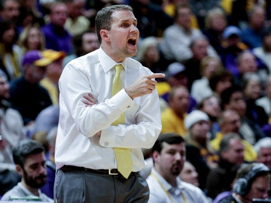 LSU head coach Will Wade reacts during the second half against Kentucky at the Pete Maravich Assembly Center.