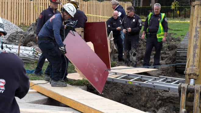 A 50-year-old man died after a trench collapsed on him Wed. afternoon, Oct. 29, 2014 along Fairway Drive in Grosse Pointe Woods. Also, one of the people trying to rescue him was injured. The man, a independent contractor, was excavating to connect to a sewer. First responders made contact with the man, got him oxygen and held his hand before a second collapse took his life and injured a rescuer.