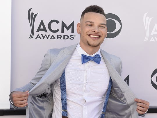 Kane Brown takes to the ACM Awards red carpet in 2017.
