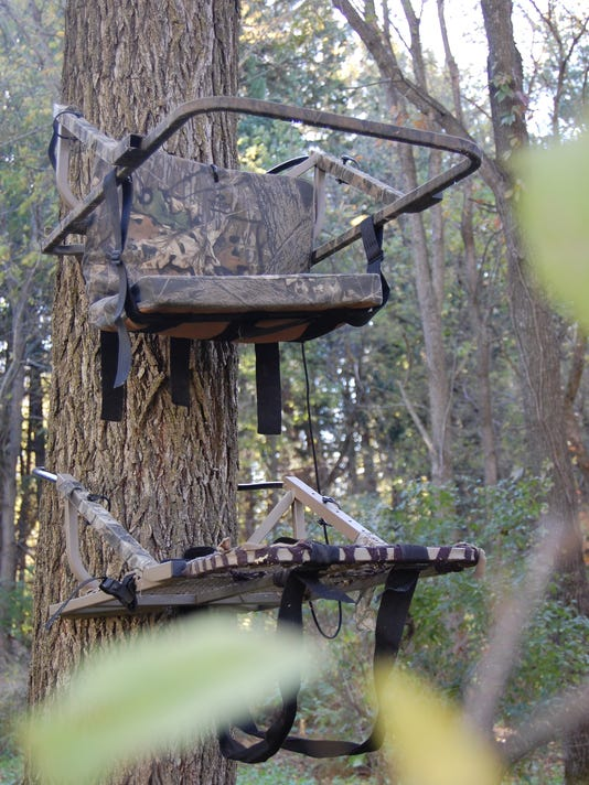 10.19.14 - Climbing Tree Stand Through the Leaves.JPG
