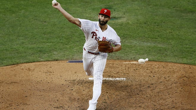 The Phillies' Jake Arrieta pitches during the fourth inning against the Atlanta Braves on Saturday in Philadelphia.