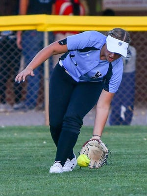 Pueblo West's Shelby James fields a base hit from Pueblo Centennial on Thursday, Sept. 3, 2020, on Corsentino Field at the Runyon Sports Complex.