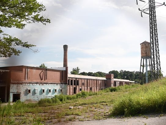 The remains of a textile mill is visible in Spartanburg