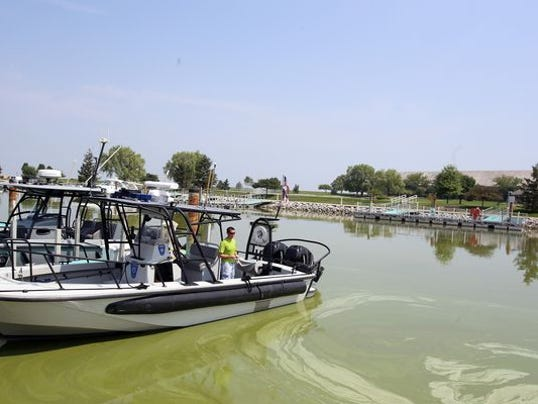 An official looks over an inlet filled with algae Regina H Boone DFP