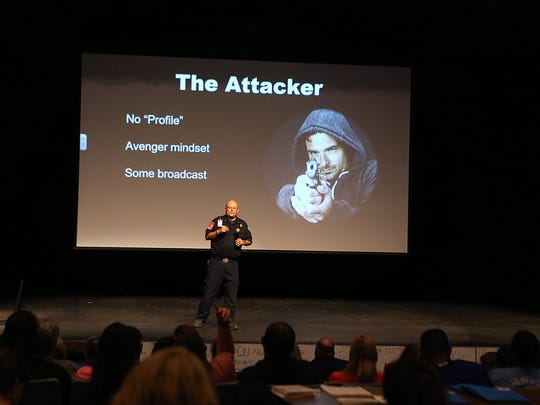 Lt. Santos Elizondo with the San Angelo Fire Department gave a Unified Response to Active Shooter Events (URASE) presentation to staff inside Lake View High School Tuesday, August 14, 2018.