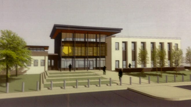 A design shows how the entrance to the new Murfreesboro Police Department headquarters will look.