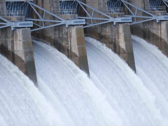 Table Rock Dam was releasing 50,000 CFS of water on