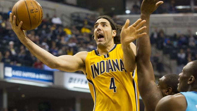 Forward Luis Scola (4) is reportedly leaving the Indiana Pacers to join the Toronto Raptors.