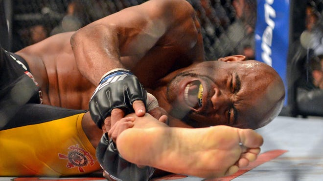Anderson Silva broke his leg attempting to kick Chris Weidman during UFC 168 at the MGM Grand Garden Arena on Dec. 28, 2013.