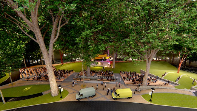 Rendering shows planned improvements for concert venue at Haddon Lake Park in Haddon Heights.