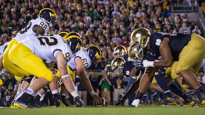 Michigan and Notre Dame line up in 2014.
