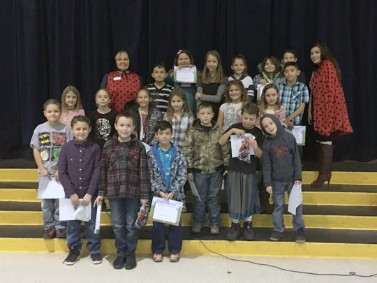 Alamogordo Daily News General Manager Carol Burgess and Advertising Coordinator Blanca Najar are pictured with January's La Luz third- and fifth-grade recipients.