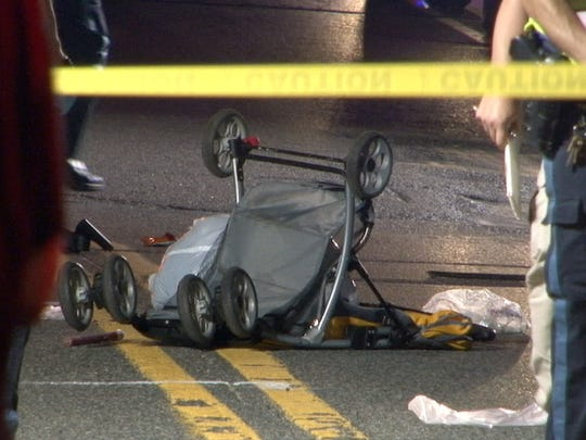 A woman pushing two children in a carriage across Route 9 near Edgewood Court in Lakewood late Monday night, August 31, 2015, was struck by a car.  The two children were transported to Jersey Shore University Medical Center.