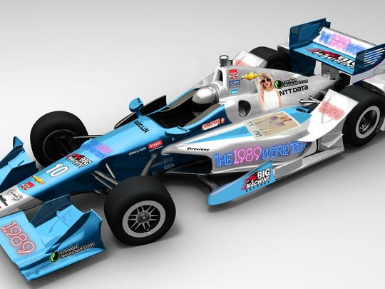 Tony Kanaan's car with Taylor Swift on the side.