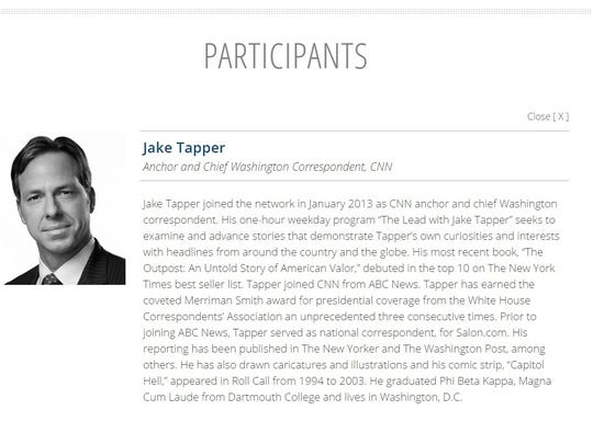 Jake Tapper's bio on the Clinton Foundation website,